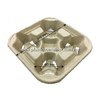 4-CUP PAPER MOULDED PULP DRINK TRAY