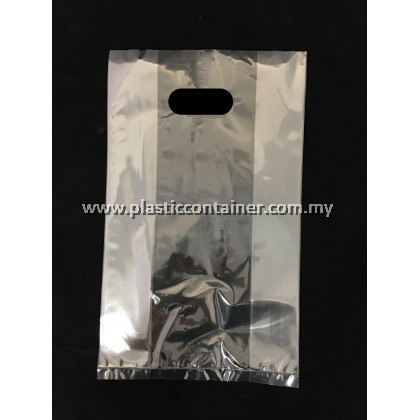 CLEAR PP BAG 12X13 INCH DIE CUT HANDLE 60 MICRON