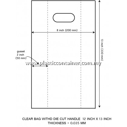 CLEAR PP BAG 12X13 INCH DIE CUT HANDLE 35 MICRON (200 PCS)