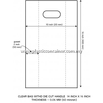 CLEAR PP BAG 14X16 INCH DIE CUT HANDLE 60 MICRON