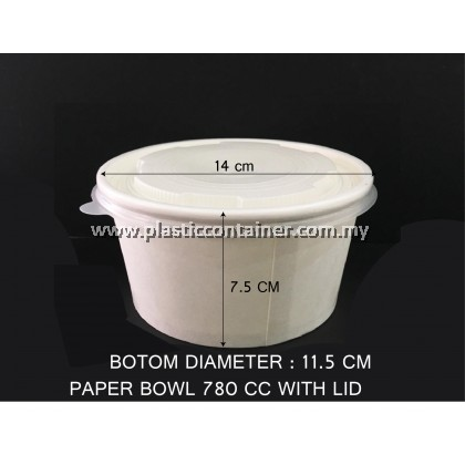 PAPER BOWL  780CC WITH LID