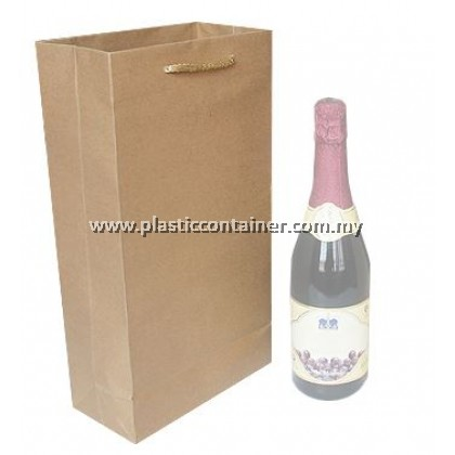 PAPER BAG BROWN FOR 2 WINE (50 PCS PER PKT)